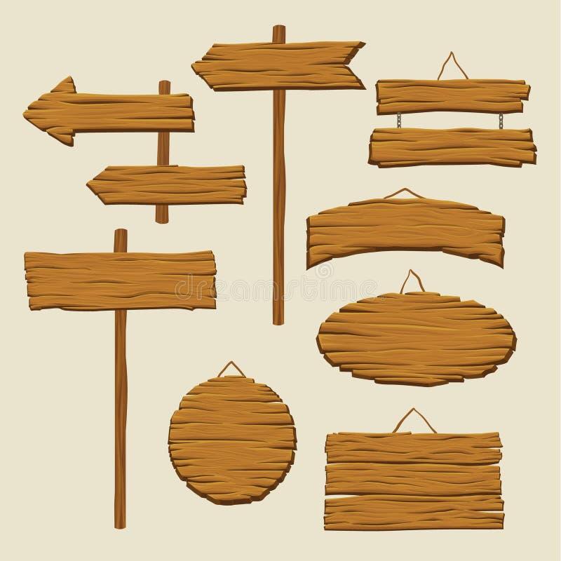 Uppsättning av träskyltar och riktningspilar Tomma advertizingaffischtavlor som göras ut ur trä Tecken med stället för royaltyfri illustrationer