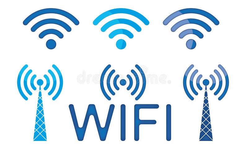 Uppsättning av trådlös anslutning Logo Wifi Icon Wifi Sign för vektor 3D Wifi stock illustrationer