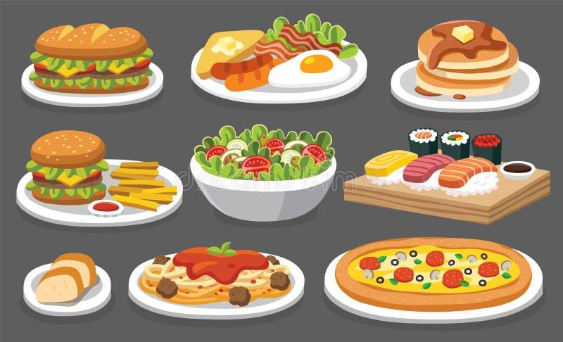 Uppsättning av traditionell mat Låt ` s äta något som är läcker royaltyfri illustrationer