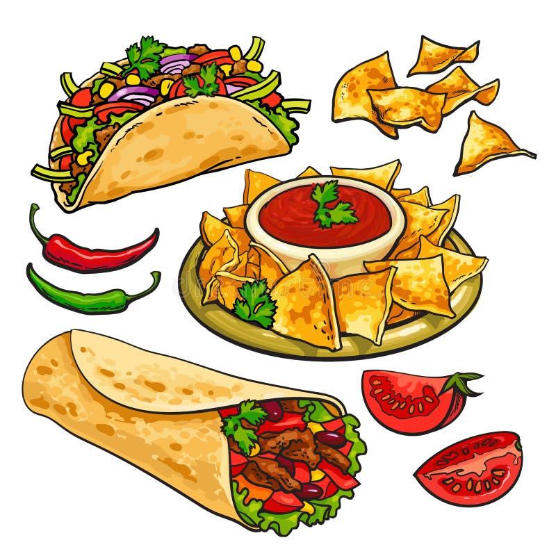 Uppsättning av traditionell mexicansk mat - burrito, taco, nachos, salsa vektor illustrationer