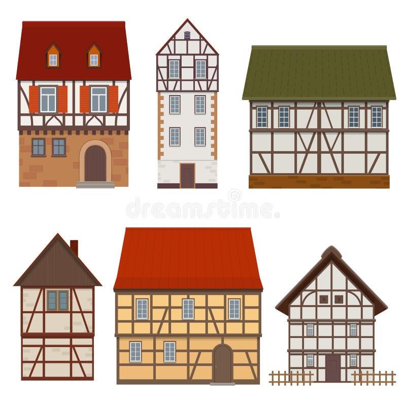 Uppsättning av traditionella fasader av korsvirkes- medeltida hus på stock illustrationer