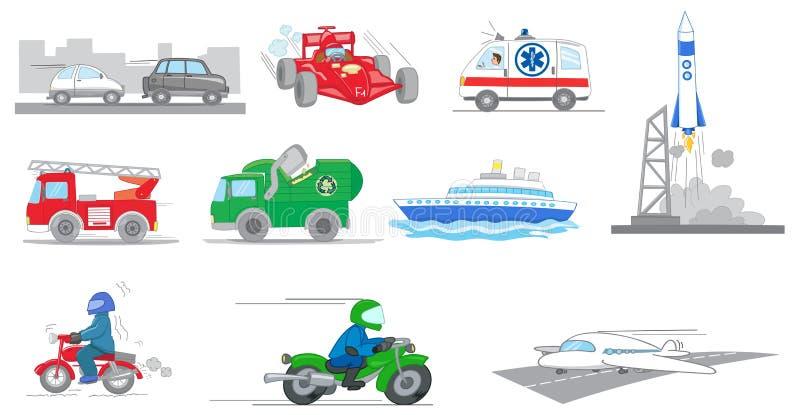 Uppsättning av tranportationmedelvektorn stock illustrationer