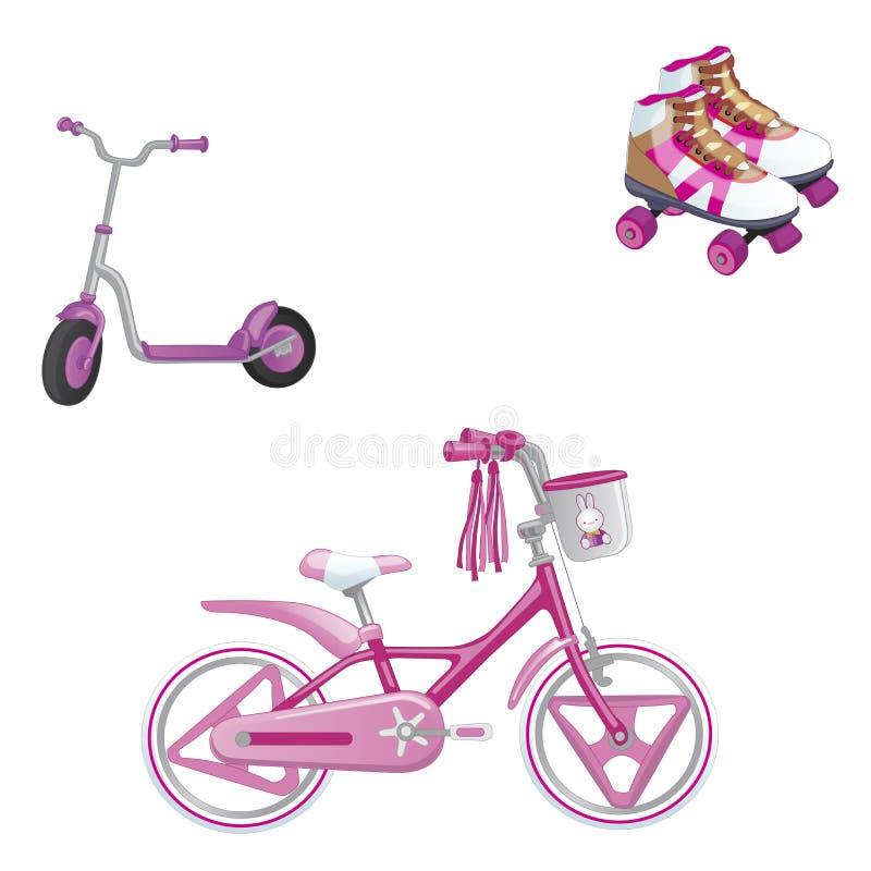 Uppsättning av transport för barn` s Eco transport för ungar Gulliga ungar cyklar, rullen som åker skridskor, och rullsparkcykeln royaltyfri illustrationer