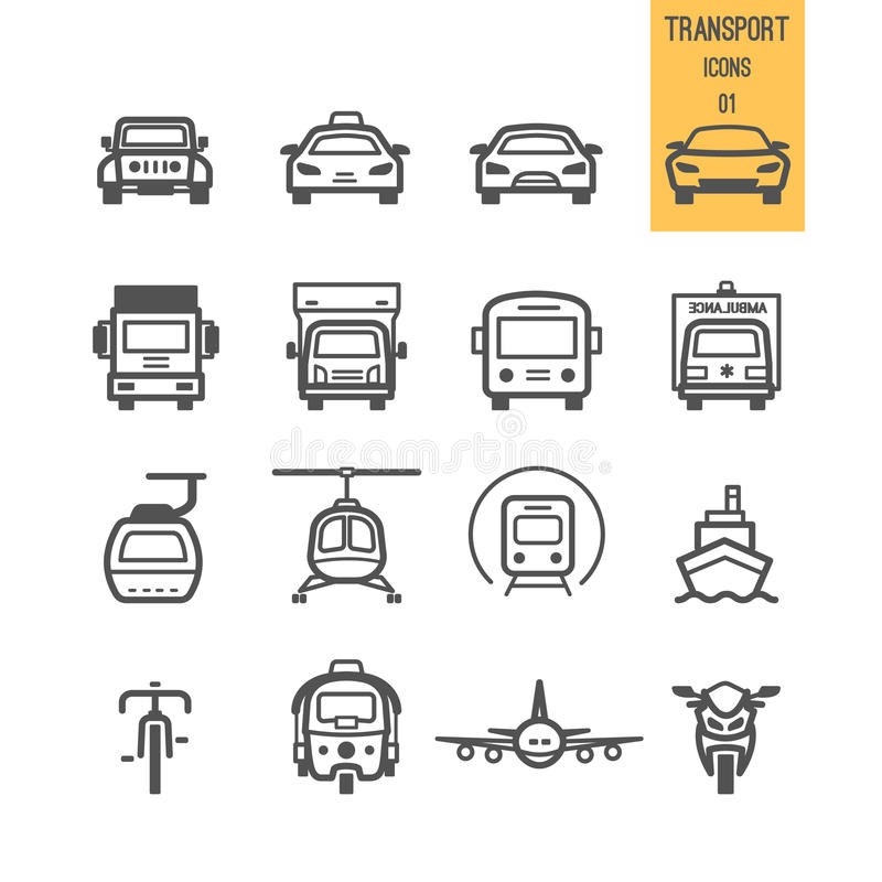 Uppsättning av transportsymbolen stock illustrationer