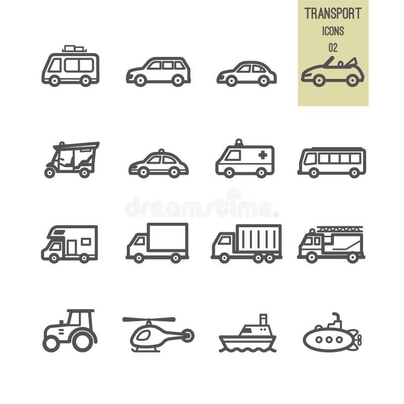 Uppsättning av transportsymbolen vektor illustrationer