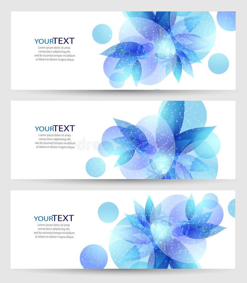 Uppsättning av tre baner, abstrakta titelrader, med det blåa blom- beståndsdelar och stället för din text stock illustrationer