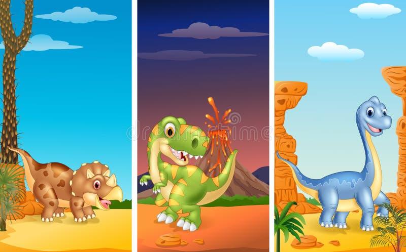 Uppsättning av tre dinosaurier royaltyfri illustrationer