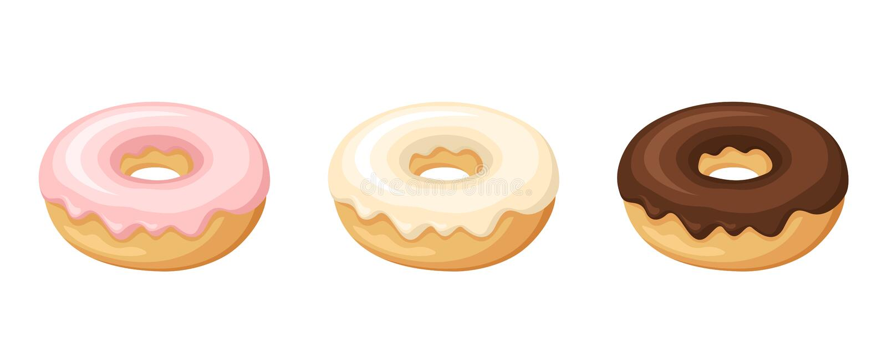 Uppsättning av tre donuts också vektor för coreldrawillustration stock illustrationer