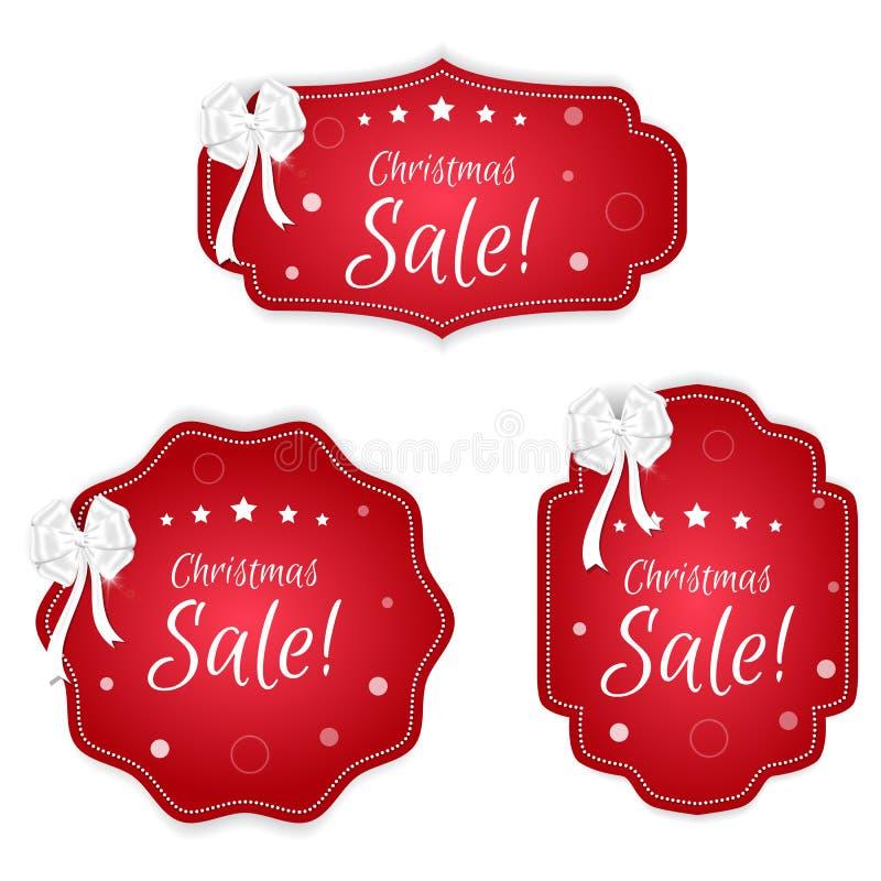 Uppsättning av tre festliga julkupongetiketter som är röd med vita pilbågar Passande för rengöringsdukdesign och tryck vektor illustrationer