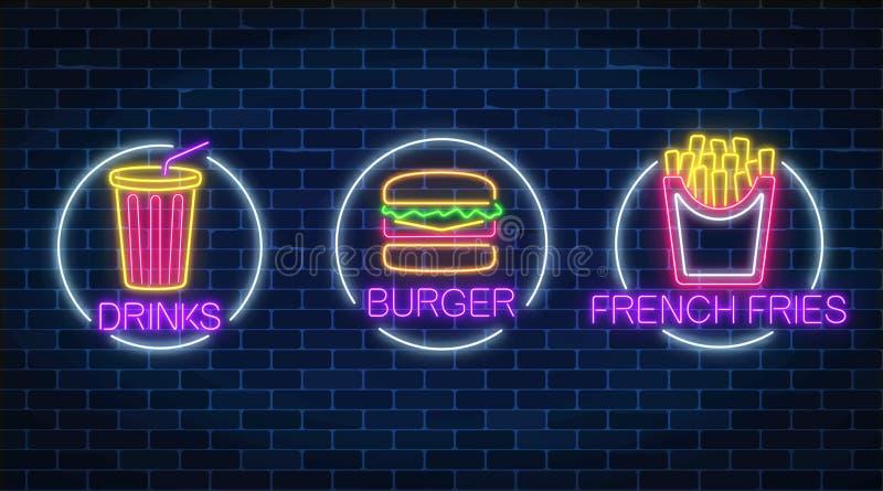 Uppsättning av tre glödande tecken för neon av fransmansmåfiskar, hamburgare och sodavattendrink i cirkelramar Ljust affischtavla stock illustrationer