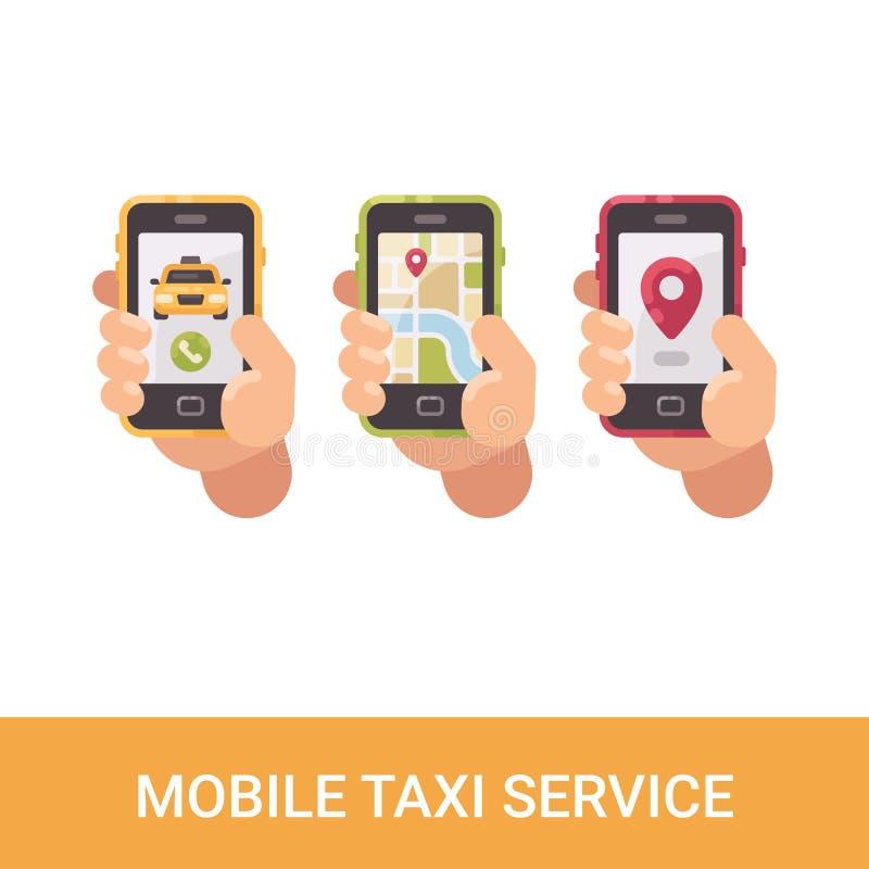 Uppsättning av tre händer som rymmer smartphones Mobila taxiservicesymboler royaltyfri illustrationer