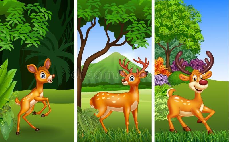 Uppsättning av tre hjortdjur med naturbakgrund stock illustrationer