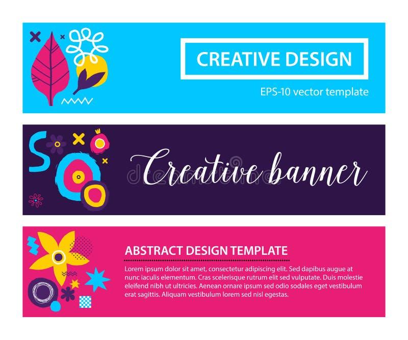 Uppsättning av tre horisontalbaner med abstrakt hand drog beståndsdelar Kan användas för annonsering och grafisk design stock illustrationer