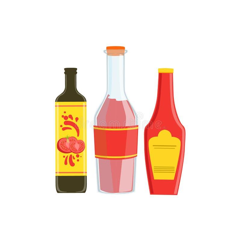 Uppsättning av tre industriella såser i plast-flaskor inklusive asiatiska sojabönor, kryddigt och ketchup royaltyfri illustrationer