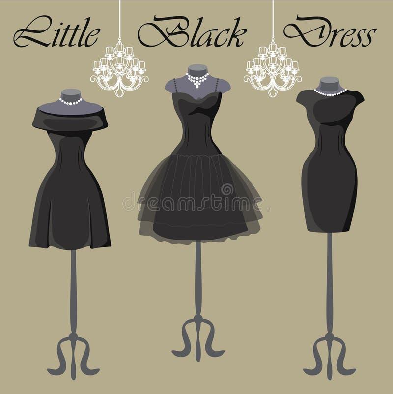 Uppsättning av tre lilla svartklänningar Monokrom sammansättning royaltyfri illustrationer