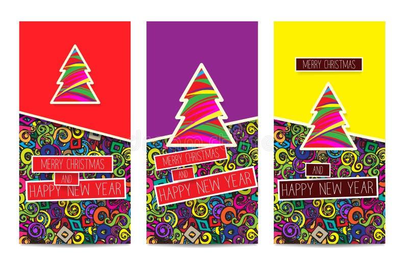 Uppsättning av tre ljusa färgrika klassiska julhälsningskort stock illustrationer