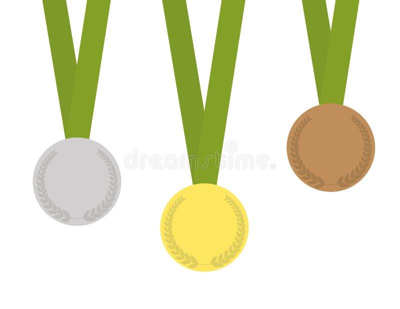 Uppsättning av tre medaljer stock illustrationer