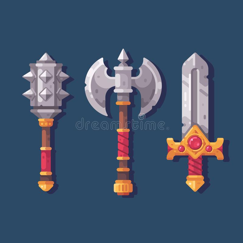 Uppsättning av tre medeltida fantasivapen Stridmuskotblomma, yxa och svärd vektor illustrationer
