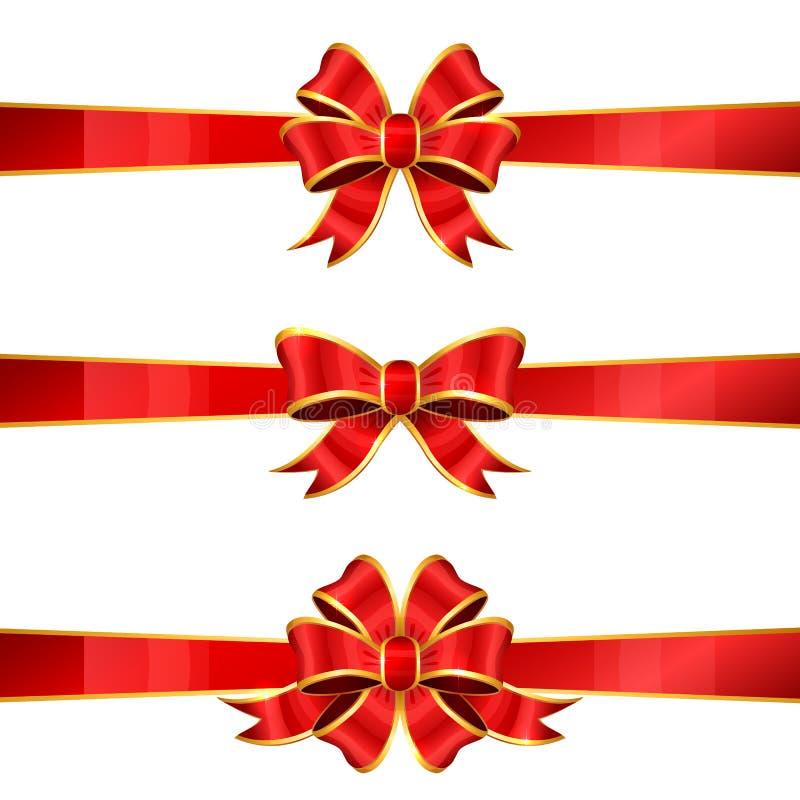 Uppsättning av tre röda pilbågar vektor illustrationer
