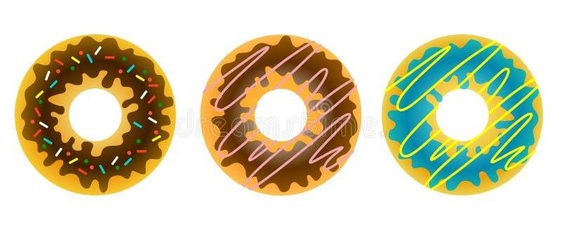 Uppsättning av tre söta donuts i den strilade glasyren och decoen vektor illustrationer