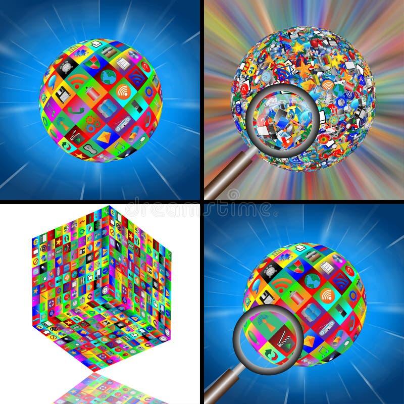 Uppsättning av tre sfärer och en kub 10.06.13 royaltyfri illustrationer