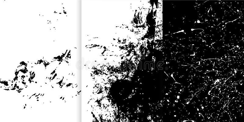 Uppsättning av tre svartvit hand drog texturer för din design royaltyfri illustrationer