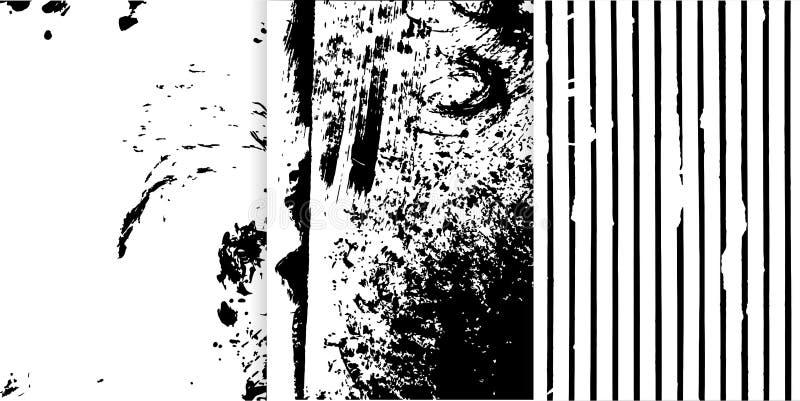 Uppsättning av tre svartvit hand drog texturer för din design stock illustrationer