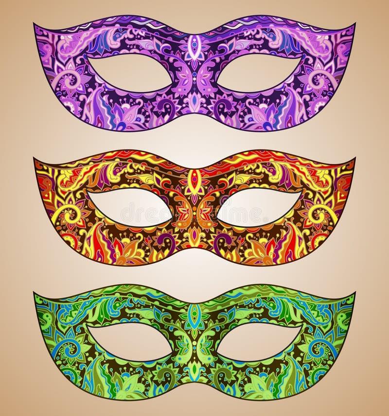 Uppsättning av tre utsmyckade blom- Venetian karnevalmaskeringar för vektor stock illustrationer
