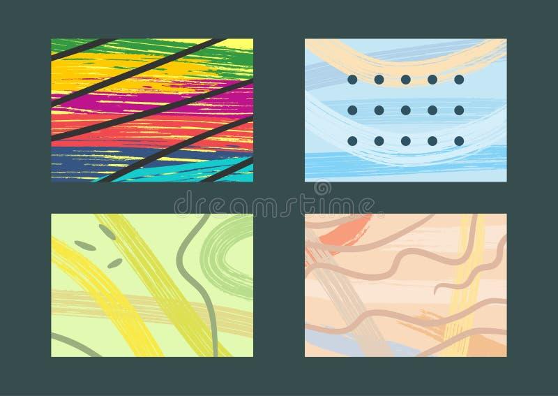 Uppsättning av trendiga rektangulära bakgrunder Grunge skissar, vattenfärgen, grafitti, målarfärg, färgstänk vektor illustrationer