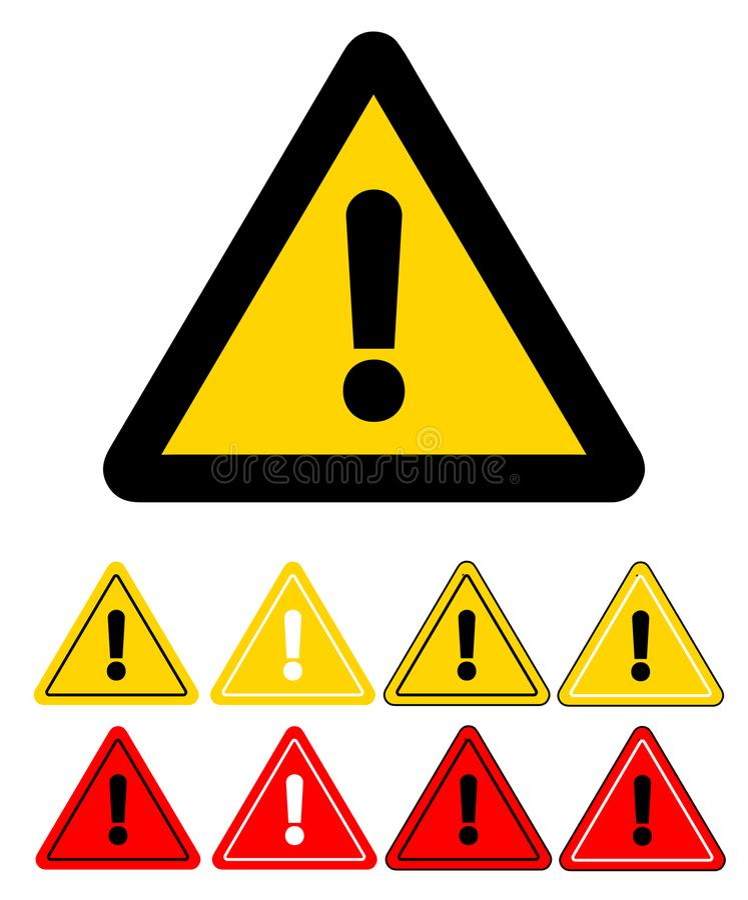 Uppsättning av triangelvarningssymboler extra version för vektor för tecken för raster för illustration för varningseps-format Ma vektor illustrationer