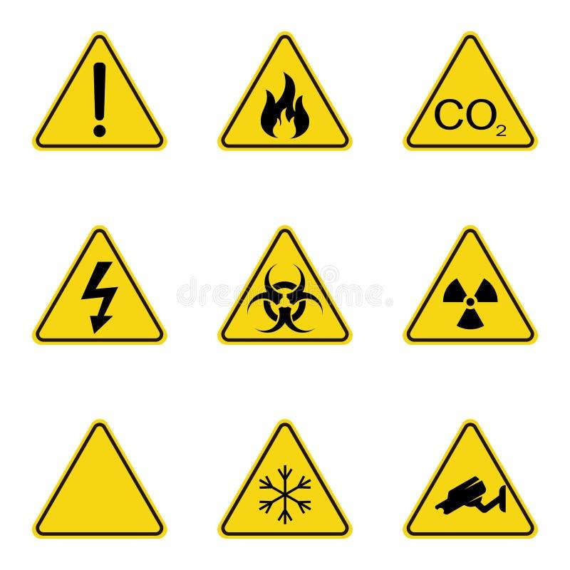 Uppsättning av triangelvarningstecken Varningsroadsignsymbol Fara-varning-uppmärksamhet tecken Gul bakgrund stock illustrationer