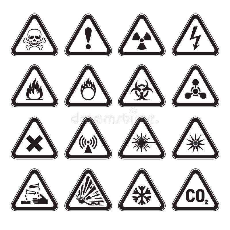 Uppsättning av triangulär svart för varningsfaratecken stock illustrationer