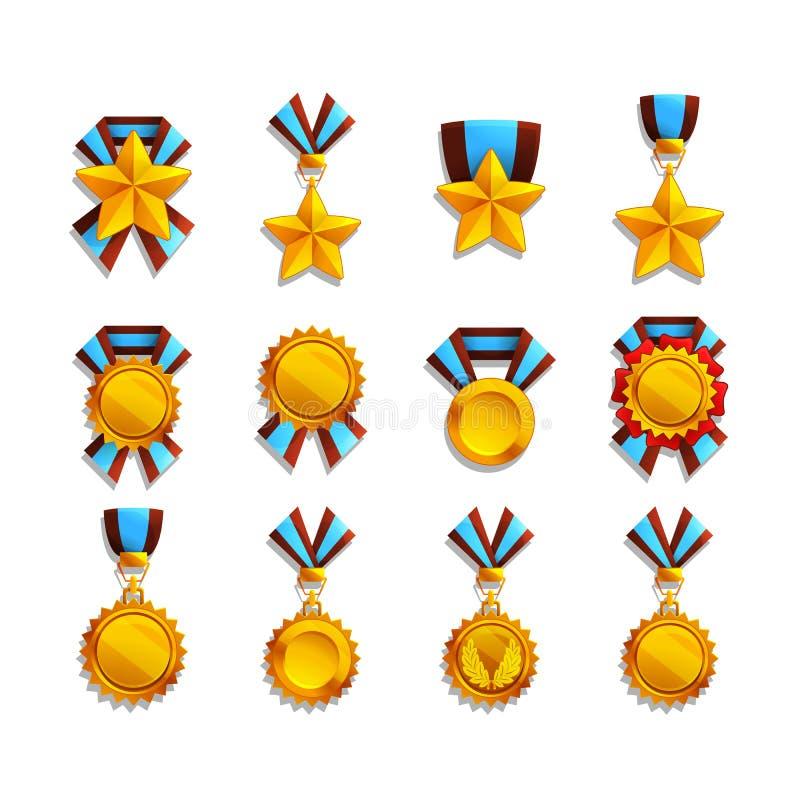 Uppsättning av trofé och medaljer royaltyfri illustrationer