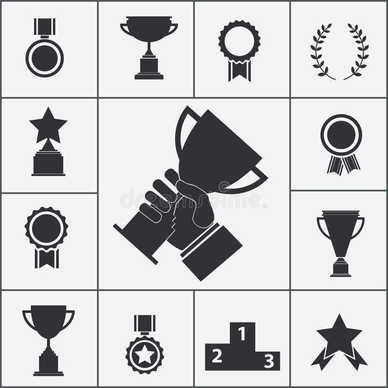 Uppsättning av trofé- och utmärkelsesymboler stock illustrationer