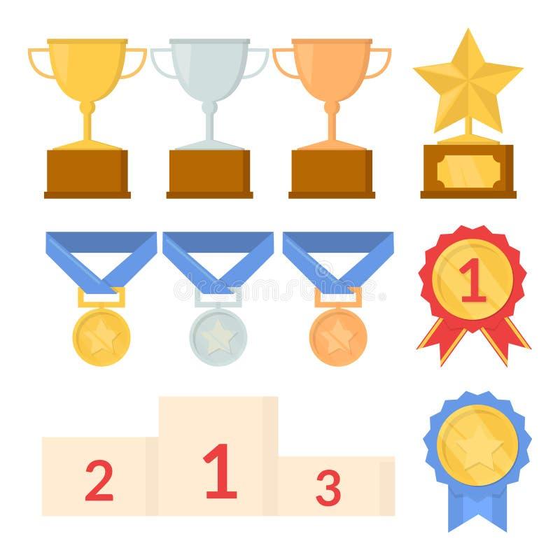 Uppsättning av trofén Vinnarepris Guld-, silver- och bronsvinnare kopp, medalj, sockel bakgrund isolerad white Plan stil vektor illustrationer