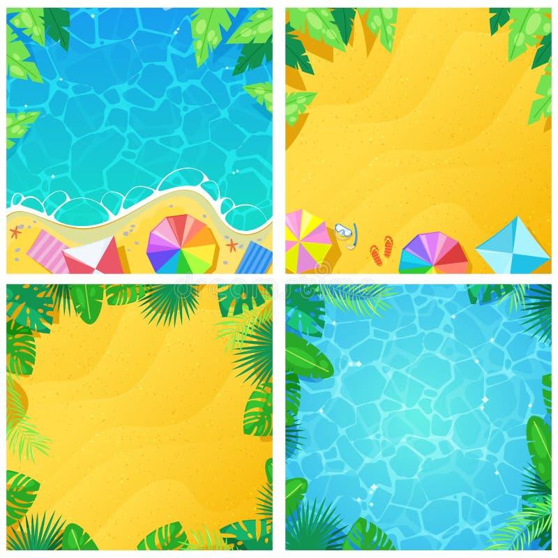 Uppsättning av tropisk den strandvektorbakgrund och ramen Kort för tecknad film för sommarferie och semestereller banermall royaltyfri illustrationer