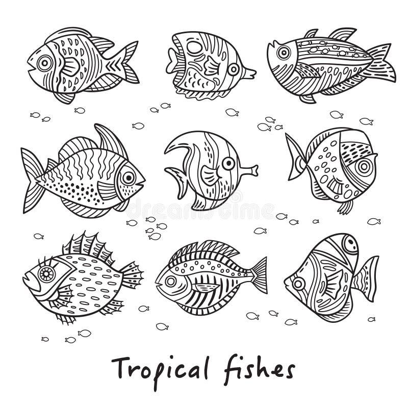 Uppsättning av tropiska fiskar för färgpulver också vektor för coreldrawillustration royaltyfri illustrationer