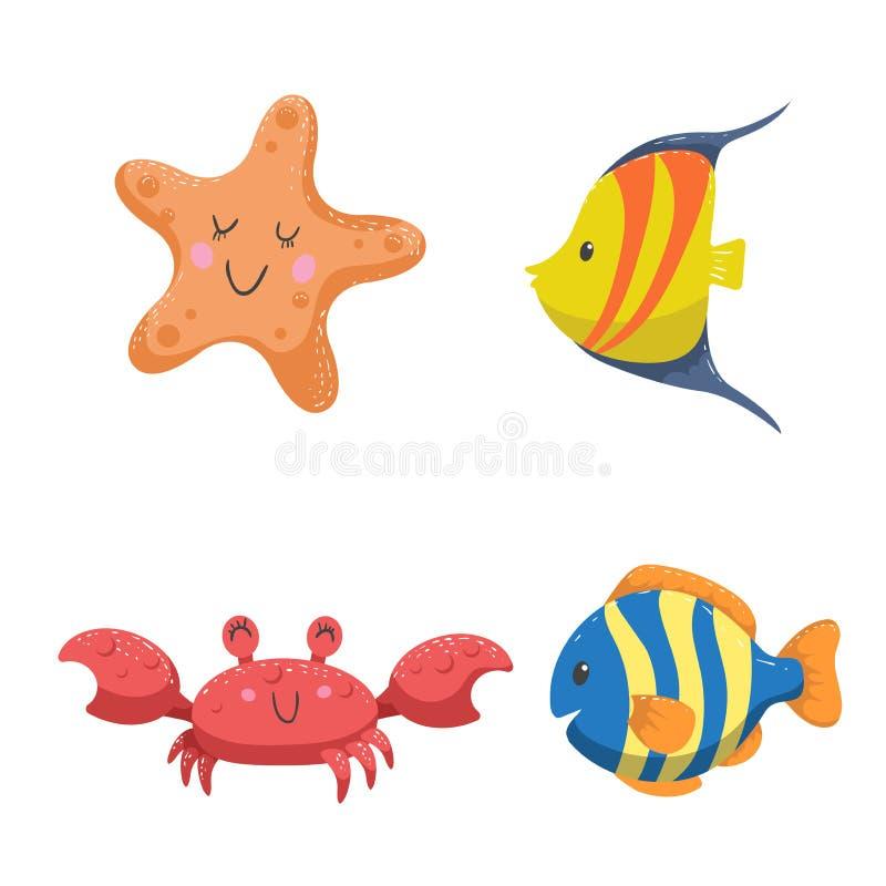 Uppsättning av tropiska havs- och havdjur Sjöstjärnan, krabban och den olika färgvändkretsen fiskar vektor illustrationer