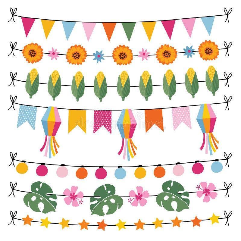 Uppsättning av tropiska sommargirlander Rad av ljus, bunting flaggor, havre, monsterasidor och hibiskusen blommar Trädgård royaltyfri illustrationer