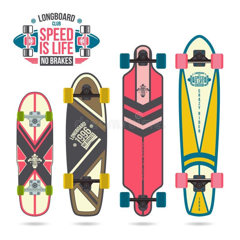 Uppsättning av tryck på longboard royaltyfri illustrationer