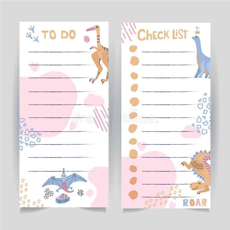 Uppsättning av tryckbar mall två av som ska göras, och sidan för kontrolllista som dekoreras med utdragen dinosaurus för hand och stock illustrationer