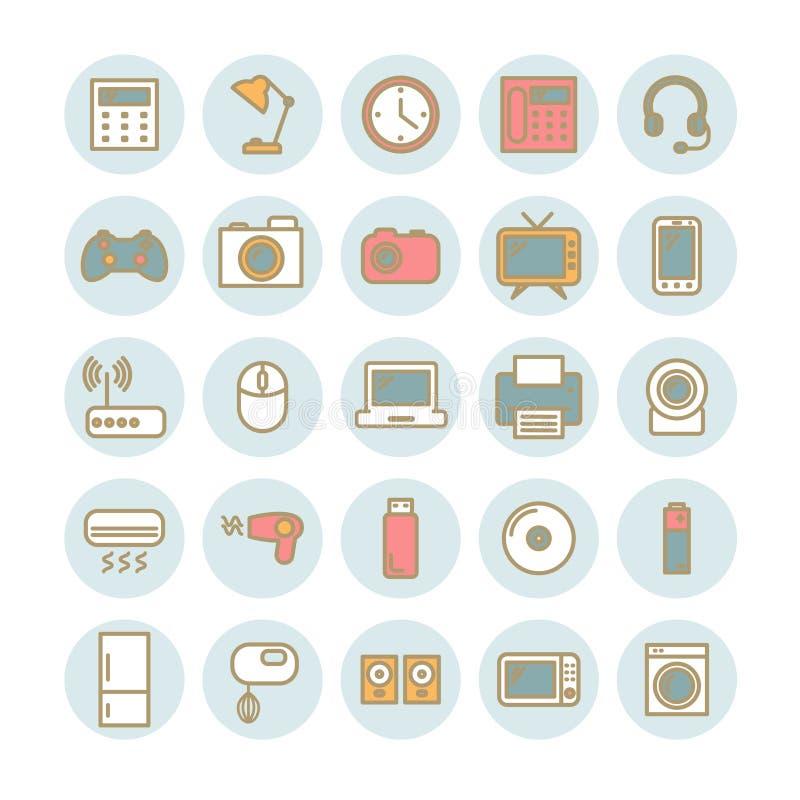 Uppsättning av tunna linjära symboler för vektor Hushåll- och kontorsanordningar vektor illustrationer