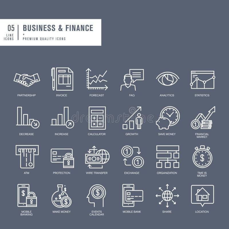 Uppsättning av tunna linjer rengöringsduksymboler för affär och finans royaltyfri illustrationer