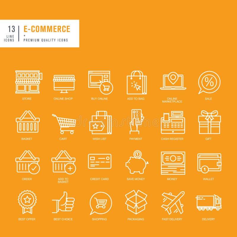Uppsättning av tunna linjer rengöringsduksymboler för e-kommers royaltyfri illustrationer