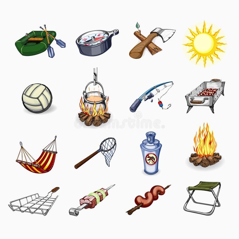 Uppsättning av turism och campa symboler stock illustrationer