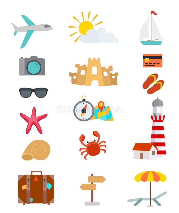 Uppsättning av turismobjekt och tillbehör Lopptemasymboler stock illustrationer