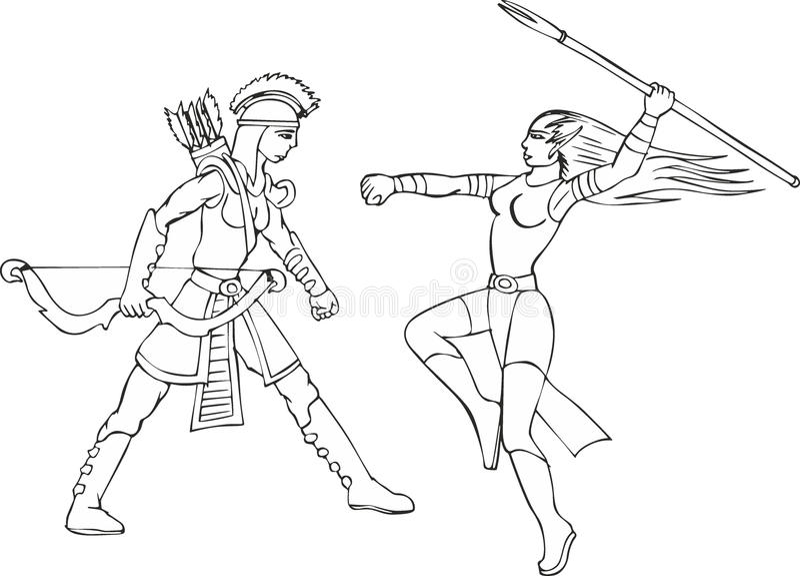 Uppsättning av två beväpnade mirakel- amazon kvinnor vektor illustrationer
