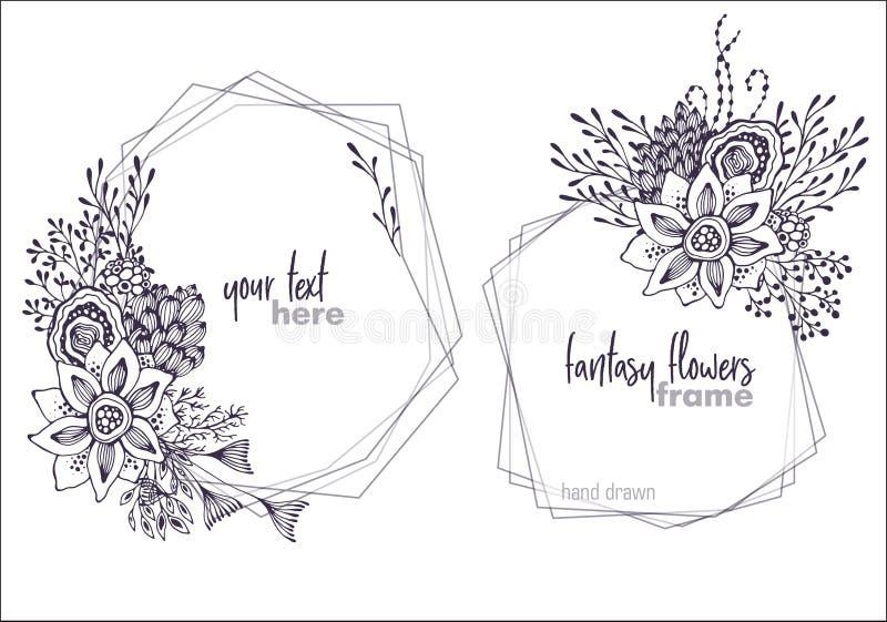 Uppsättning av två blom- ramar för svartvit vektor med buketter av fansy blommor royaltyfri illustrationer