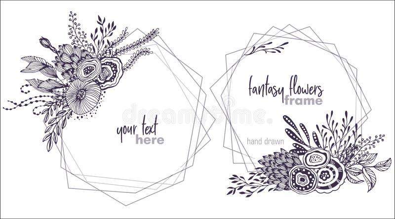 Uppsättning av två blom- ramar för svartvit vektor med buketter av fansy blommor vektor illustrationer