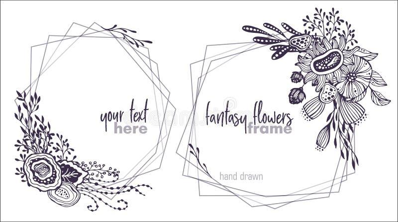 Uppsättning av två blom- ramar för svartvit vektor med buketter av fansy blommor stock illustrationer